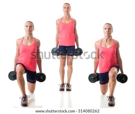 Reverse lunge exercise. Studio shot over white. - stock photo