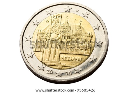 Reverse of 2 euro coins with architecture of Bremen - stock photo