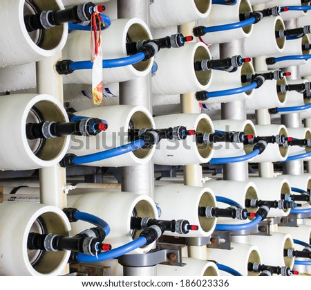 reverse osmosis plant for desalinating sea water in Israel - stock photo