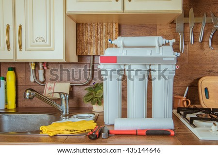 Reverse osmosis system. water filter - stock photo