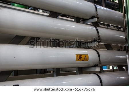 Reverse osmosis tube for water treatment in the factory.