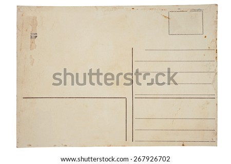 Reverse side of an old postal card isolated on white background - stock photo