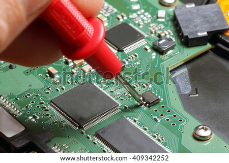 review board tester with probe - stock photo