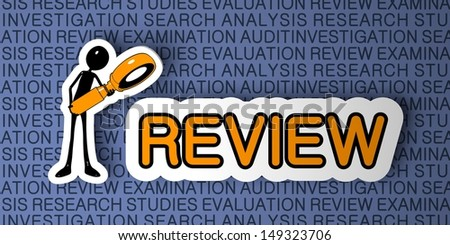 Review Concept. Cartoon Character with Magnifying Glass on Blue Background. 3D Render. - stock photo