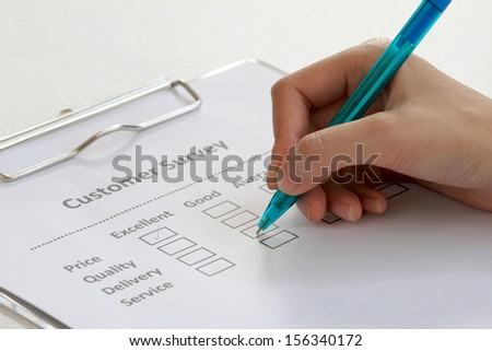 Review form for evaluation - stock photo