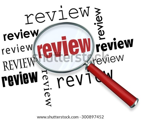 Review magnifying glass looking for evaluation, recommendations, ratings, opinions, feedback or comments - stock photo