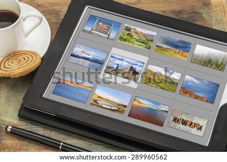 reviewing image library (grid of thumbnails) on a digital tablet computer - colorful Colorado, lakes and mountains, all displayed pictures copyright by the photographer - stock photo