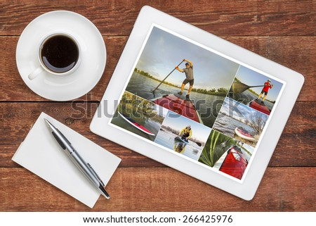 reviewing pictures of stand up paddling featuring a senior male on a digital tablet with a cup of coffee. All screen pictures copyright by the photographer with the same model (self). - stock photo