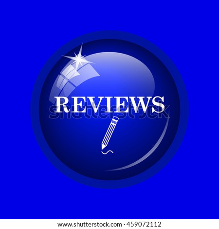 Reviews icon. Internet button on blue background.
