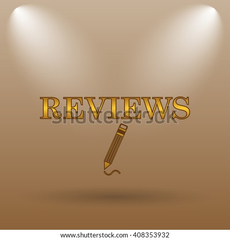 Reviews icon. Internet button on brown background.