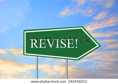 REVISE! road sign green - stock photo