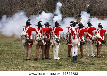 Revolutionary war reenactment at Fort Ward Historic Site Alexandria Virginia Washington DC area on President Day - stock photo