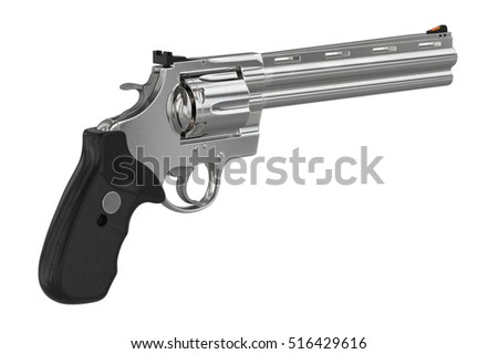 Revolver chrome weapon plastic handle. 3D graphic