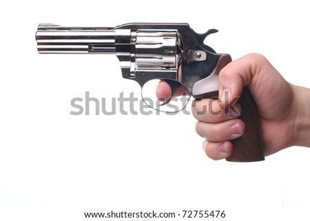 revolver isolated on white - stock photo