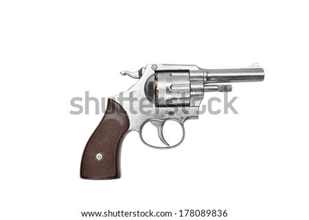 Revolver isolated on white background - stock photo