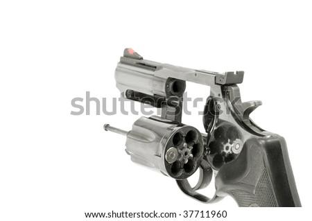 Revolver, one bullet, white isolation. - stock photo