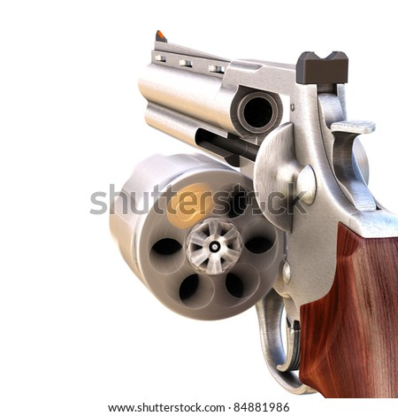 revolver with a rotating open drum. isolated on white. - stock photo