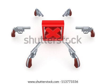 Revolvers around red cross mark.Isolated on white background.3d rendered. - stock photo