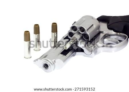 Revolvers isolated on white background - stock photo