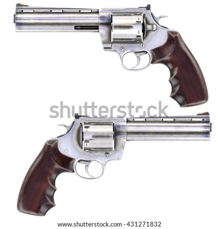 Revolvers isolated on white background. 3D illustration.