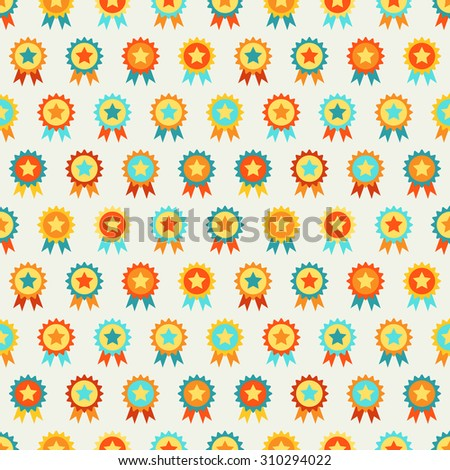Reward seamless  pattern of medal. Endless texture can be used for printing onto fabric, web page background and paper or invitation. Winner, champion style. Retro colors. - stock photo