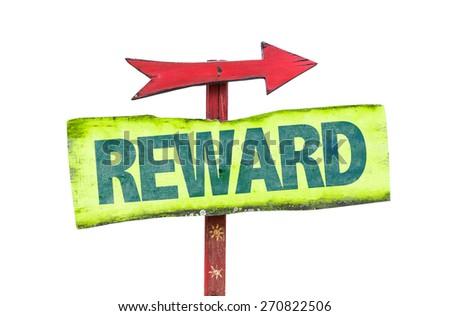 Reward sign isolated on white - stock photo