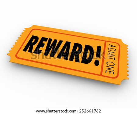 Reward word on a raffle or contest ticket for you to claim your award, prize or jackpot winnings in a drawing - stock photo
