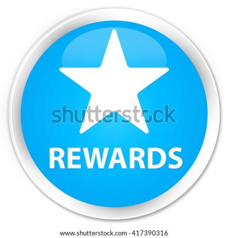 Rewards (star icon) cyan blue glossy round button - stock photo