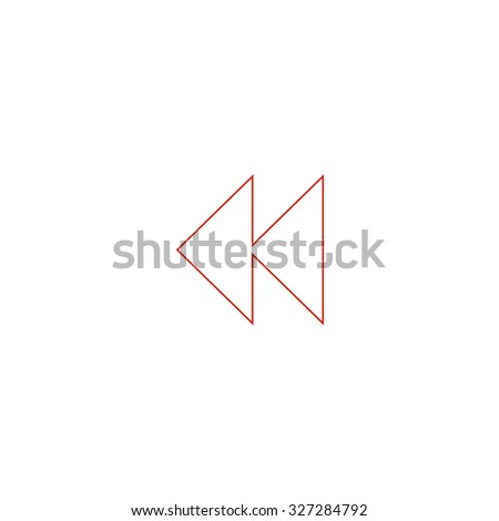 Rewind back. Red outline illustration pictogram on white background. Flat simple icon