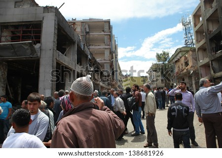 REYHANLI, TURKEY-MAY 13: Death toll rises to lots of people as explosions hit Turkish town Reyhanli with Syria on May 11, 2013. The Poto was taken May 13, 2013.