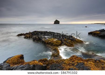 Reykjanes peninsula,Reykjanesviti.South Iceland/Iceland coast - stock photo