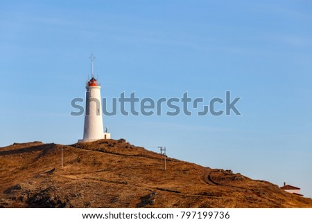 Reykjanesviti or Reykjanes Lighthouse, Reykjanes peninsula, Iceland. It is the oldest lighthouse in Iceland.