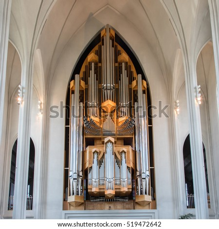 REYKJAVIK, ICELAND - August 2, 2016 : Interior View of the Hallgrimskirkja Church in Reykjavik Iceland on Aug 2, 2016.