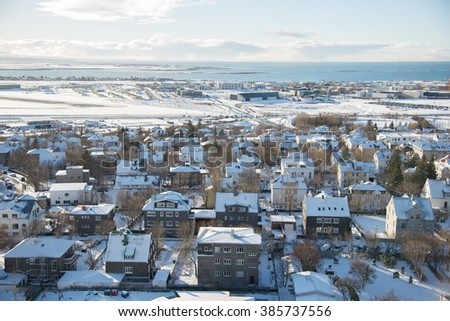 Reykjavik, Iceland cityscape. View of the city from the top of a Church in the winter. - stock photo