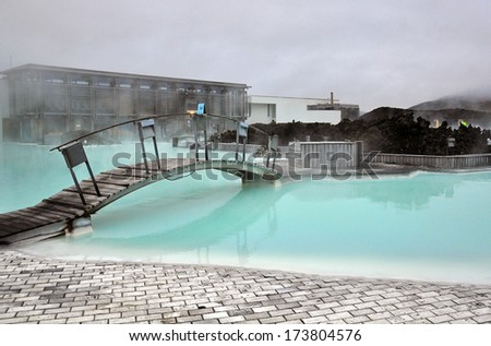 REYKJAVIK, ICELAND - JUNE 7: Famous Blue Lagoon geothermal spa in  Reykjavik on June 7, 2013. Reykjavik is a capital and the largest city of Iceland. - stock photo