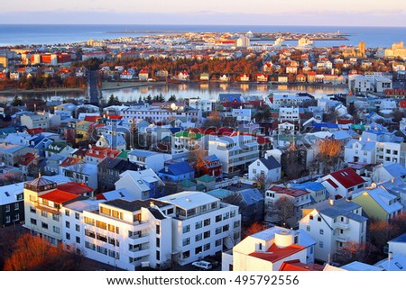 Reykjavik, Iceland - November 25, 2010 - View of the city at sunset