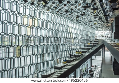 Reykjavik, Iceland - October 9 2016: Interior views of Harpa, Iceland's beautiful  concert hall and cultural centre, opened in 2011.Designed by Henning Larsen architects and artist Olafur Eliasson