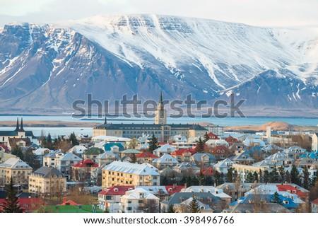 Reykjavik the capital city of Iceland. - stock photo