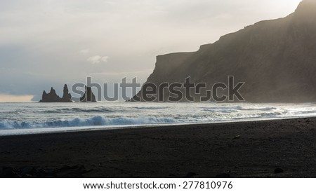 Reynisdrangar Rock at Reynisfjara Beach, Vik, Iceland - stock photo