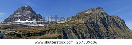 Reynolds Mountain and Mt Oberlin in Glacier National Park, Montana. - stock photo