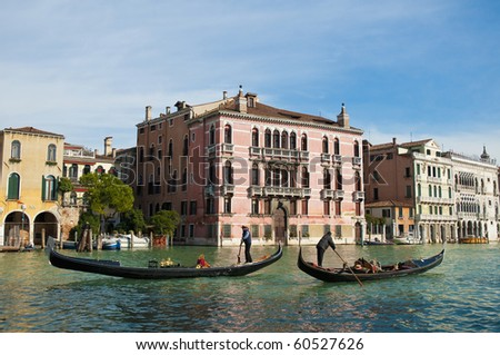 Rezzonico Palace entrance viewed from the Canale Grande Venice, Italy - stock photo