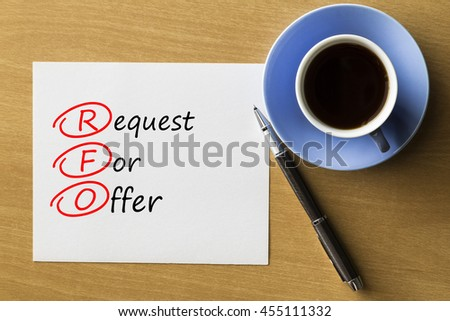 RFO Request For Offer - handwriting on paper with cup of coffee and pen, acronym business concept