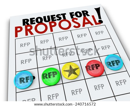 RFP Request for Proposal words on a bingo card to illustrate competition in business to win new customers seeking quotes, prices and costs on products or services - stock photo