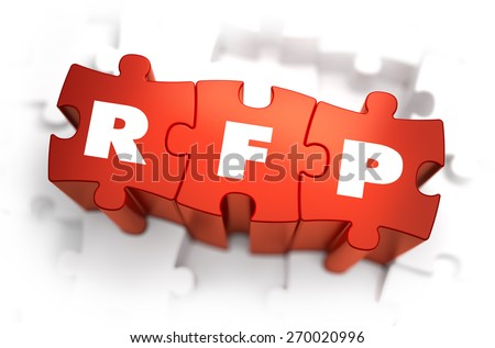 RFP - White Word on Red Puzzles on White Background. 3D Render.  - stock photo