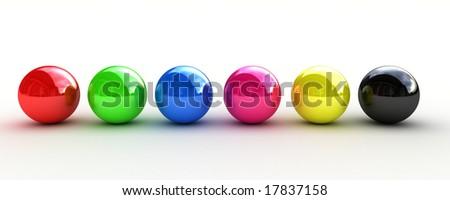 rgb and cmyk spheres - stock photo