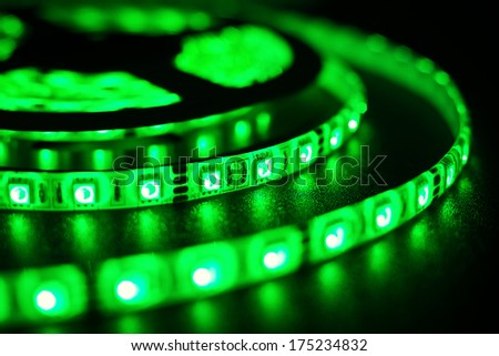 rgb LED strip for decoration of interiors and buildings, light green at the moment - stock photo