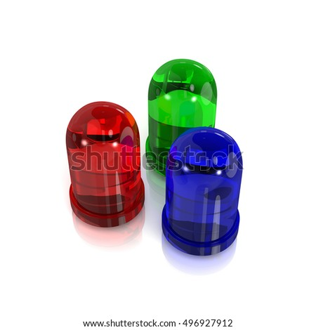 RGB Red, Green and Blue Led Diodes on White Background 3D Illustration