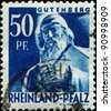 RHEINLAND-PFALZ - CIRCA 1947: A stamp printed in Allied Occupation in Germany shows Johannes Gensfleisch zur Laden zum Gutenberg - printer, and publisher who introduced the printing press, circa 1961 - stock photo