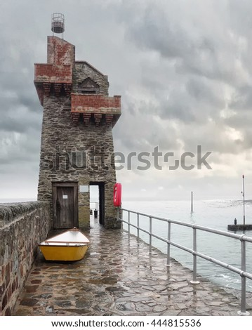 Rhenish Tower, The harbour tower at Lynmouth, Devon, England. - stock photo