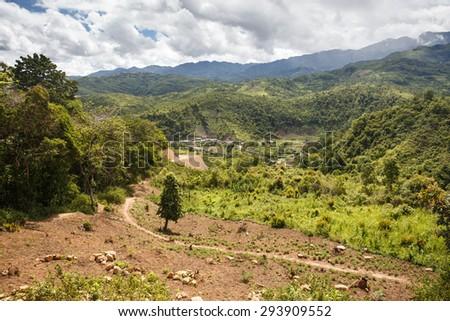 Rhi Village near the Indian border in Chin State, Myanmar (Burma) - stock photo